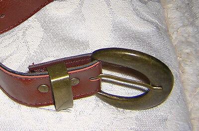 Small ladies mens boys girls 80 cm brown belt w round brass buckle Size 8 XS S