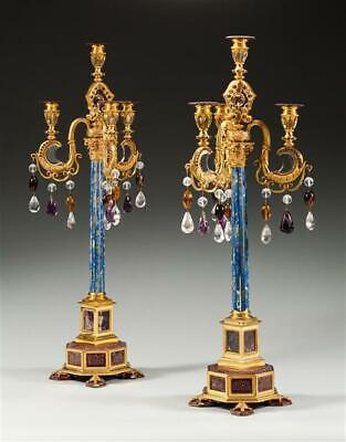 Jewel encrusted gilt bronze   3 arm chandelier with carved crystal amethyst 12