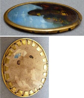 Médaillon peinture miniature fixé sous verre 19e siècle Sémaphore Chappe 2
