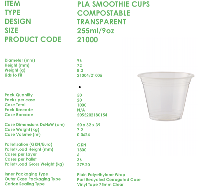 * 9oz Compostable Biodegradable Smoothie-Milkshake-sweets Cups & Lids BIO750/D/E 2