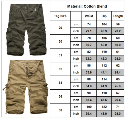 Mens Cargo Shorts Pants Army Combat Tactical Military Long Trousers Multi-Pocket 12