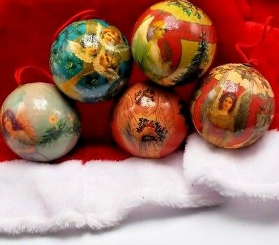 5 Vintage Paper Mache Christmas Ornaments Angel Round balls 5 Set 11