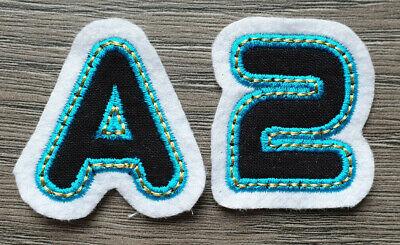Buchstabe Zahl Name ABC Alphabet Applikation Bügelbild Aufnäher Eis Blau 4,5cm