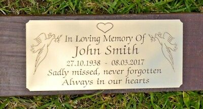 """Solid Brass Memorial Bench Plaque Grave Marker Sign 5""""X2"""" Personalised Engraved 3"""