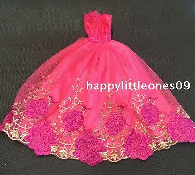 Hot Pink Embroidered Barbie Doll Wedding Party Evening Dress/Clothes/Outfit New 3