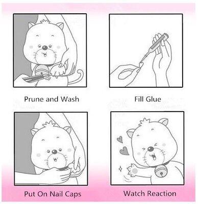 20pcs & 1 Glue Soft Cat Nail Caps Pet Claw Covers Paw Protective Mult-color 2