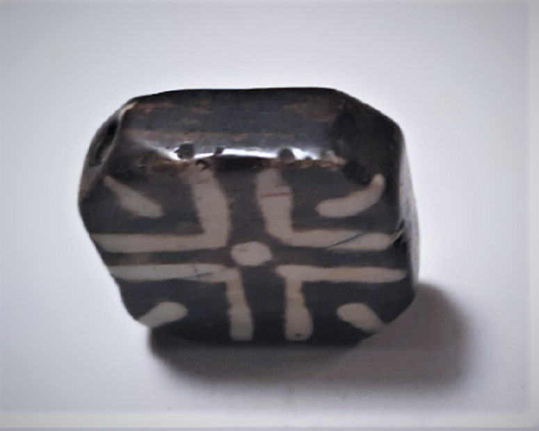 Antique Pumtek Pyu Diamond Tabular Cross Opalized Fossil Palm Wood Bead 23 mm 4