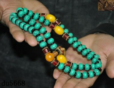 """16""""Old Tibetan Buddhism temple Beeswax turquoise Exorcism amulet necklace statue 8"""