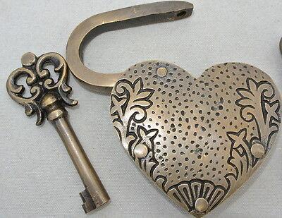 "PADLOCK 3"" Vintage stye antique HEART LOVE brass key lock engraved bridge heavy 2"