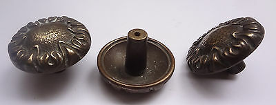 Lot 3 Vintage Solid Brass Pull handles Knobs 1 3/4'' + Backplates  Free Shipping 10