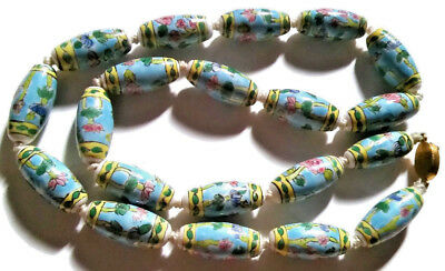 Antique Chinese Art Deco Necklace Estate Porcelain Hand Painted Large Beads Long 2