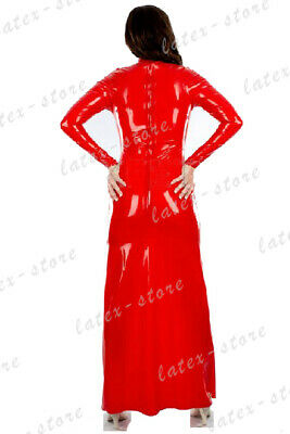 Latex Catsuit Rubber Gummi Red Long One Piece Dresses Sexy Sweet Customized .4mm 2