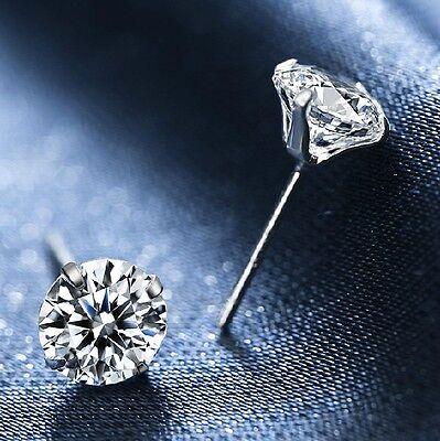 New 925 Silver Classic Swarovski Crystal Lab Diamond Cutting Stud Earrings Gift 2