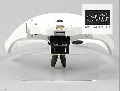 5 Lens Headset Deluxe Magnifier Hand Free Magnifying Glass LED Eyelash Extension