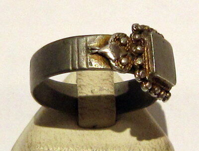 Amazing Medieval Or Post-Medieval Silver Ring With Gold Plated # 81B 3