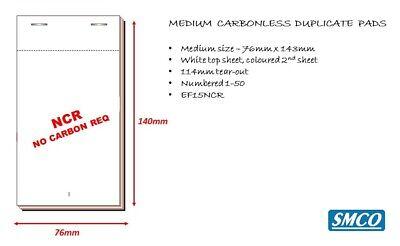 50 DUPLICATE CARBONLESS Waiter Order PADS Cafe Bar MEDIUM 76mm x 140mm PAD20 NCR 3