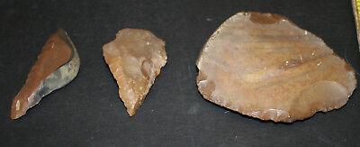 6 Egyptian Faiyum Predynastic Flint Flaked Hand Stone Tools 7400-6400 BC #16