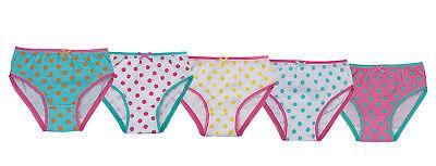 Girls 5 Pack Pairs Briefs Set Knickers Kids Multipack 100% Cotton Underwear Size 7