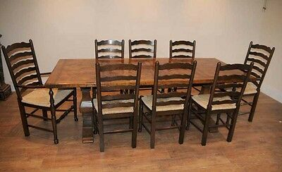 8 Solid Oak Pad Foot Ladderback Kitchen Chairs 9