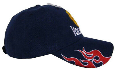 Navy Blue Volunteer Firefighter Fire Fighter Department Flames Baseball Cap Hat