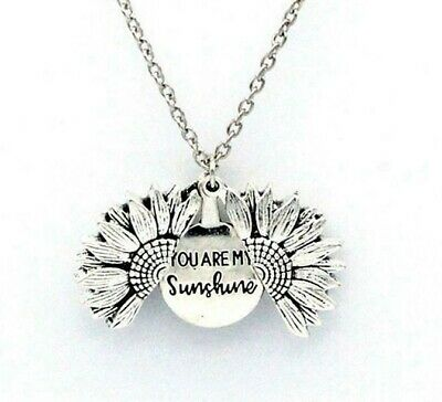 """You Are My Sunshine"" Sunflower Open Locket Pendant Womans Necklace Jewelry Gift 2"