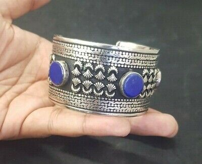 Wonderful Silver plated Afgani Adjustable Beautiful Bangle With Lapis Stone #W12 8