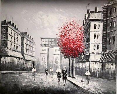 Oil Painting on Canvas Paris Street Scene - Arc de Triomphe - Framed \ Unframed 3
