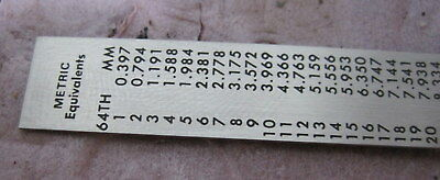 Engineer Machinist Metal Ruler w/ Clip==NOS 4