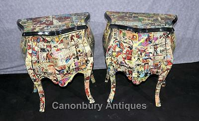 Pair Chest Drawers Comic Print Bedside Chests Tables Nightstands 5