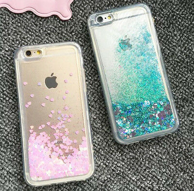 new products d5b2c 1c849 LIQUID GLITTER WATER Stars Bling Sparkly Case Cover For iPhone XR XS 6S 7 8  Plus
