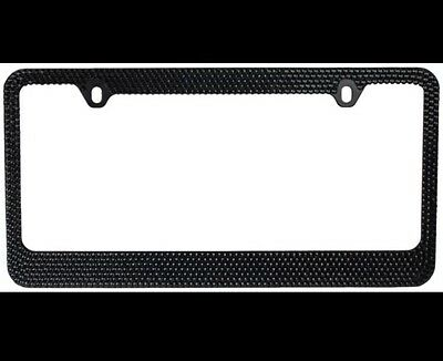 BLING BLING 7 Rows Black Diamond Crystal License Plate Frame/Free ...
