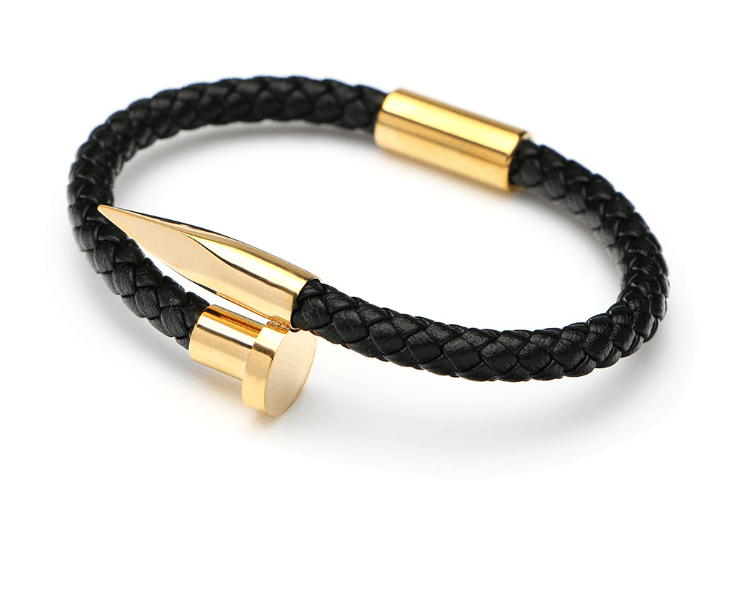 "8"" Mens Womens Stainless Steel Nail Bangle Black Braided Leather Bracelet + Box 2"