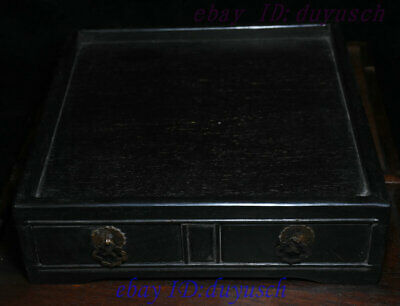 """10"""" Old Chinese Rosewood Wood handcrafted Two drawer small square tables Statue 5"""
