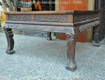 Old China Huanghuali Wood Hand-Carved Dragon phoenix Statue Ancient Tables Desk 10