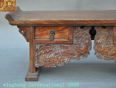 Chinese Huanghuali Old wood carved Phoenix Bird drawer coffee table Desk statue 2