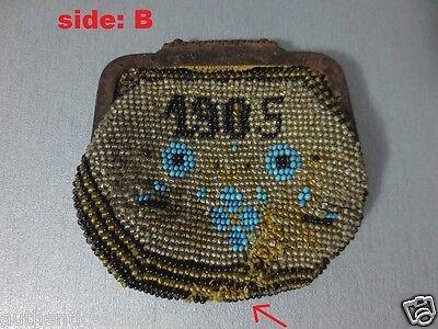 Antique Year 1905 Glass beads Coins PURSE Karakachans-Greece Macedonian RARE