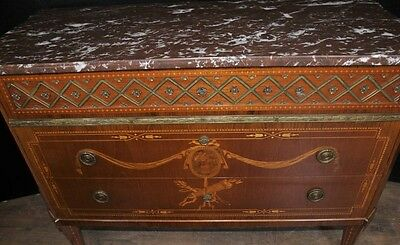 Antique French Empire Chest Drawers Commode Circa 1920 Marquetry Inlay 5
