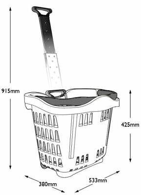 Plastic Wheeled Shopping Trolley Basket  - 43 Litre Various Colours 5