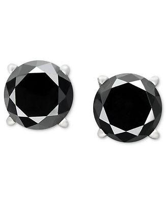 Black Diamond Stud Earrings Women Earrings and Mens Stud Earrings 14k White Gold 4