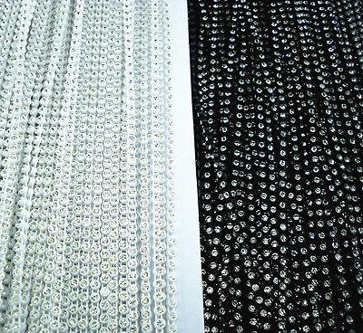 SS6 A Grade clear glass crystal 2mm Rhinestone banding white black Setting chain 3