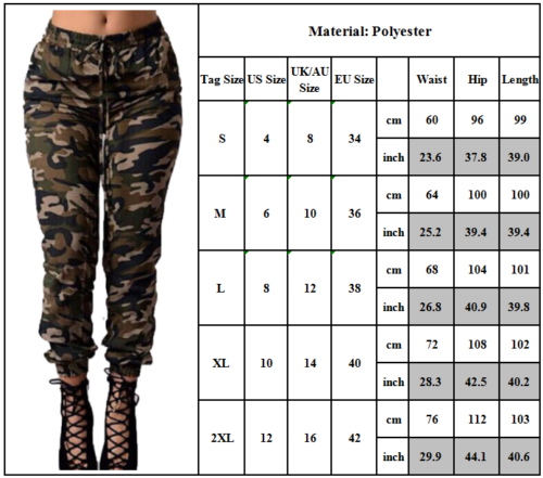 efbe1c5d53812 Women High Waisted Camo Skinny Slim Jeans Military Stretch Pencil Pants  Trousers 2 2 of 9 ...