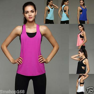 Moda Donna Workout Canottiera t-shirt palestra sport vestiti Fitness Yoga 3