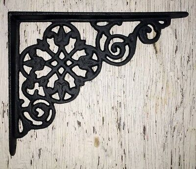 SET OF 2 VICTORIAN FLORAL PATTERN BRACKETS Antique Styled cast iron braces BLACK 2