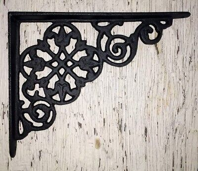 SET OF 4 VICTORIAN FLORAL PATTERN BRACKETS Antique Styled cast iron braces BLACK 4