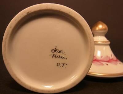 Altes Apotheken-Deckelgefäß SALIX. Porzellan handbemalt. Frankreich. 4