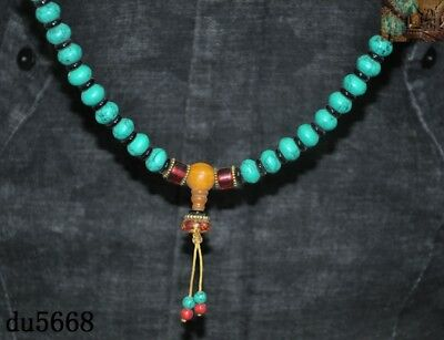 """16""""Old Tibetan Buddhism temple Beeswax turquoise Exorcism amulet necklace statue 3"""