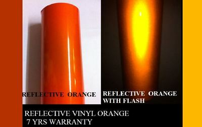 "12"" x 5'  ORANGE  Reflective Vinyl Adhesive Cutter Sign Hight Reflectivity 2"