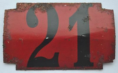 1900s Imperial Russia Apartment Flat Door Number Sign #21 RARE TIN TYPE 2
