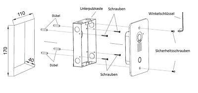 """2 Draht Video Türsprechanlage mit 2 x 7"""" Monitor (Spiegel) 6"""