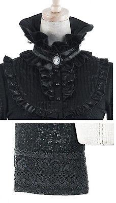 Top haut gothique lolita victorien steampunk jabot camée broderies Punkrave Noir 8
